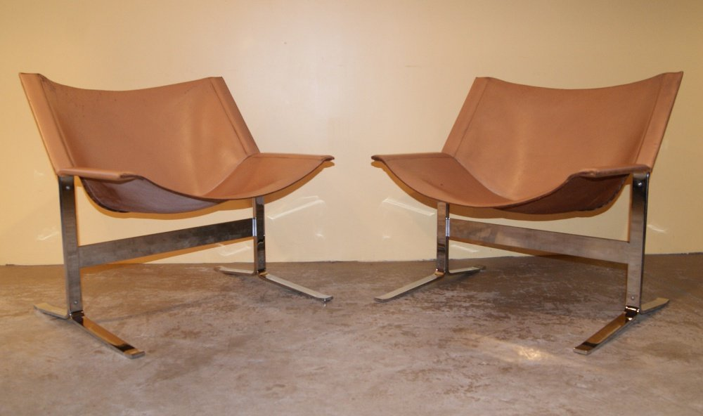 Pair chrome leather chairs